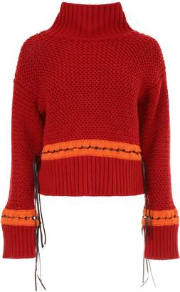 Alberta Ferretti Pullover With Faux Leather Ribbons