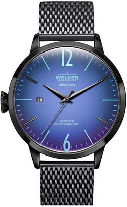 Welder Men Black Stainless Steel Mesh Bracelet Watch 42mm