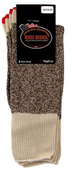 Red Heel Sock 2 Pair/Pkg W/Instructions Med Brown