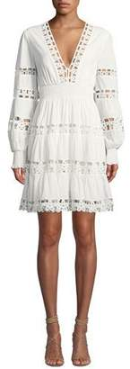 Zimmermann Primrose Daisy Embroidered Long-Sleeve Short Dress