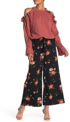 Moon River Tie Waist Floral Print Wide Leg Pants