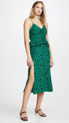 SUBOO Leopard Lights Gathered Split Dress