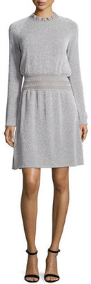 Tory Burch Isabelle Long-Sleeve Metallic Fit-&-Flare Dress $425 thestylecure.com