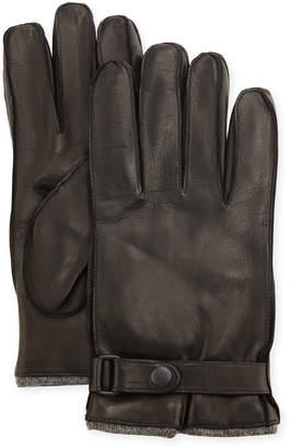 Portolano Men's Cashmere-Lined Napa Gloves w/Belted Snap