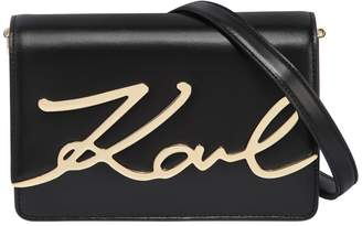 Karl Lagerfeld K/Metal Signature Leather Shoulder Bag