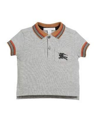 Burberry Noel Striped-Trim Logo Pocket Polo, Size 6M-3