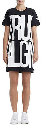 True Religion WOMENS STACKED GRAPHIC T-SHIRT DRESS