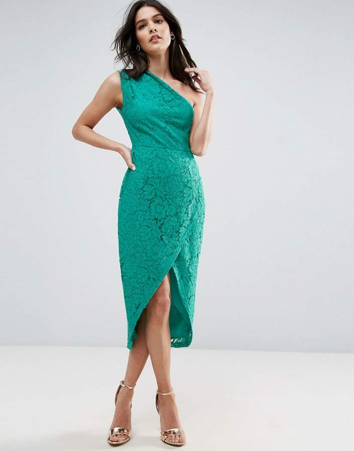 Asos ASOS Lace One Shoulder Midi Pencil Dress