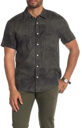 7 For All Mankind Pocket Worker Short Sleeve Linen Trim Fit Shirt