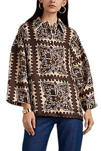 Valentino Women's Bandana-Print Silk Oversized Blouse - Brown