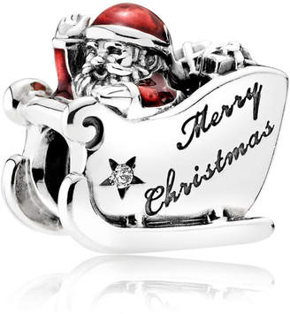 Pandora Sleighing Santa Charm - Enamel / Sterling Silver / Red