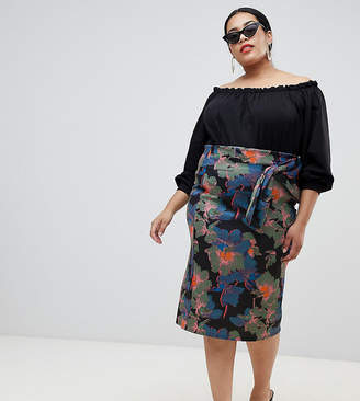 Lost Ink Plus Midi Pencil Skirt With Paperbag Waist In Oversized Bloom