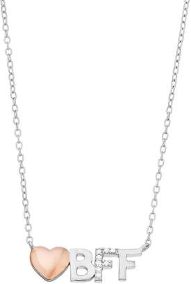Close At Heart Close at Heart Two Tone Sterling Silver Cubic Zirconia Heart & BFF Necklace