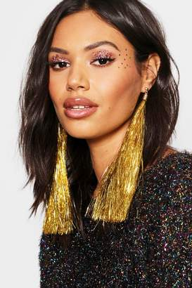 boohoo Gold Tinsel Tassel Earrings