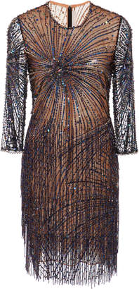 Naeem Khan Bead-Embellished Tulle Mini Dress
