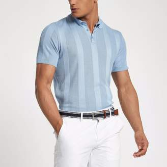 River Island Mens Blue rib knit muscle fit polo shirt