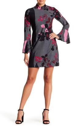 Chelsea & Theodore Knit Bell Sleeve Floral Shift Dress