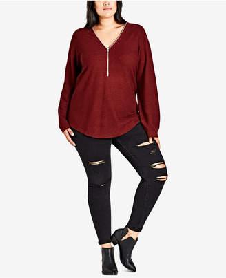City Chic Trendy Plus Size Zipper-Neck High-Low Sweater