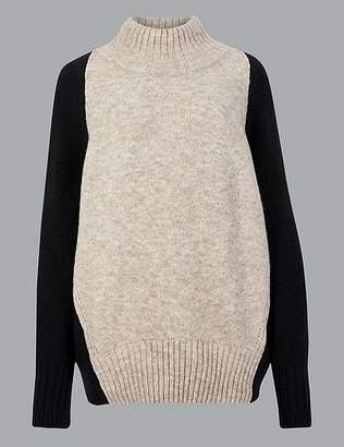 Marks and Spencer Wool Blend Colour Block Turtle Neck Jumper