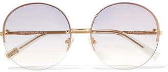 Le Specs Say My Name Round-frame Gold-tone Sunglasses - one size