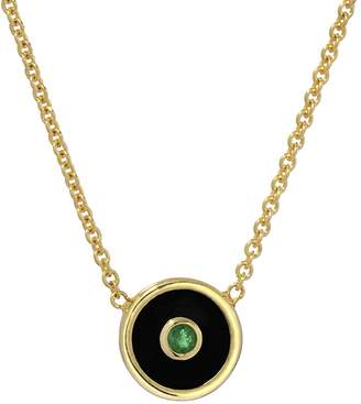 Retrouvaí Mini Black Onyx and Emerald Compass Necklace