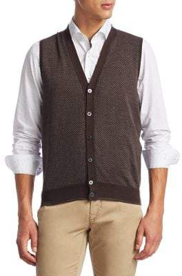 Saks Fifth Avenue COLLECTION Diamond Merino Wool Cardigan Vest