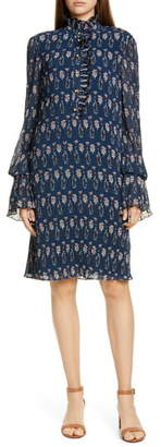Tory Burch Deneuve Floral Print Long Sleeve Shift Dress