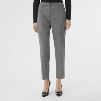 Burberry Houndstooth Check Wool Cropped Tailored Trousers