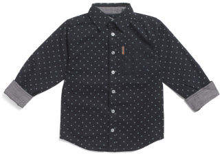 Star Print Button Down Woven Shirt