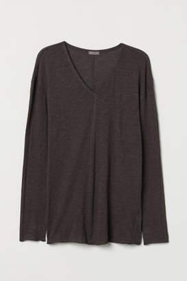 H&M V-neck Jersey Shirt - Gray