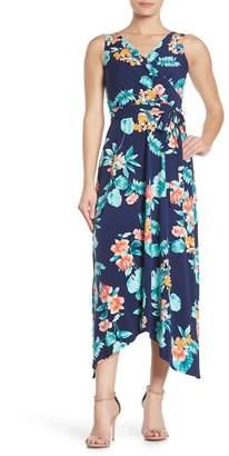 Donna Morgan Floral Surplice Sleeveless Midi Dress