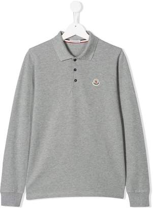 Moncler TEEN logo patch polo shirt