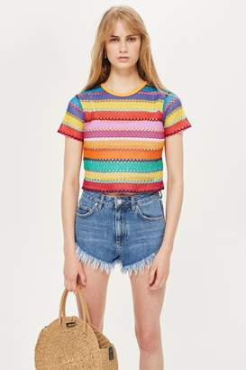 Topshop Bright Crochet T-Shirt