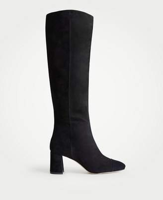 Ann Taylor Camden Suede Block Heeled Boots