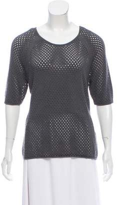 Milly Open-Knit Short Sleeve Top