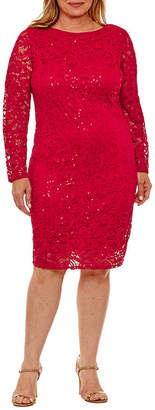 BLU SAGE Blu Sage Long Sleeve Sequin Lace Sheath Dress - Plus