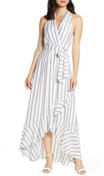 Julia Jordan Metallic Stripe Halter Maxi Dress