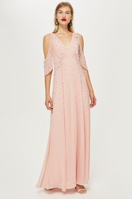Topshop Embellished Cold Shoulder Maxi Dress