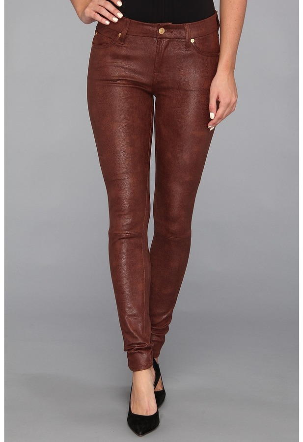 7 For All Mankind The Knee Seam Skinny w/ Contoured Waistband in Crackle Leather-Like Wine (Wine) - Apparel