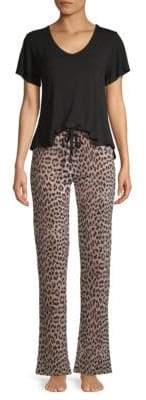 Betsey Johnson Two-Piece Cloud-Print Jersey Pajama Set