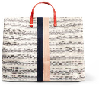 Clare V - Simple Textured Leather-trimmed Striped Canvas Tote - Cream $395 thestylecure.com