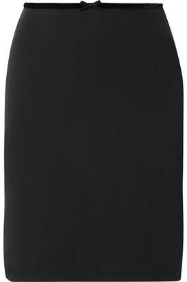 Solid & Striped Velvet-trimmed Modal-blend Ponte Mini Skirt - Black