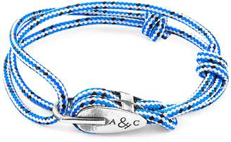 ANCHOR & CREW - Blue Dash Tyne Silver & Rope Bracelet