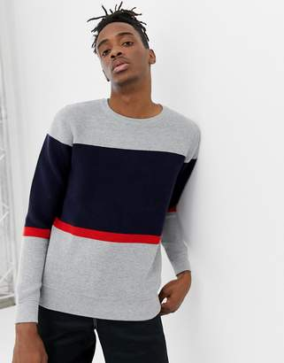 Pull&Bear crew neck sweater in gray color block