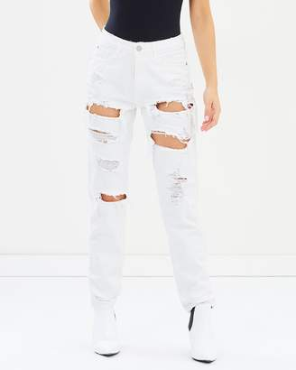 Missguided Riot High-Rise Ripped Mom Jeans