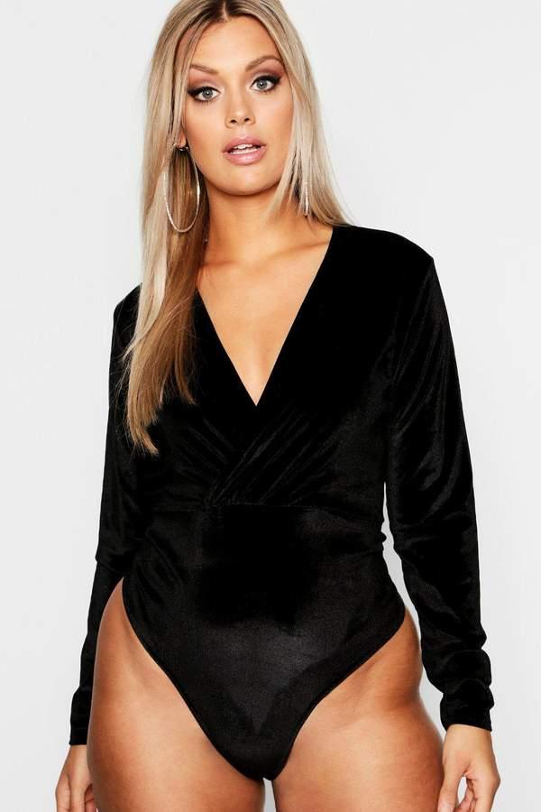 Plus Velvet Plunge Gathered Bodysuit