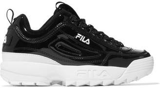 Fila Disruptor Ii Premium Logo-embroidered Patent-leather Sneakers - Black