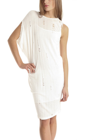 L'Agence One Shoulder Holey Dress in White