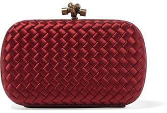 Bottega Veneta Chain Knot Watersnake-trimmed Intrecciato Satin Clutch - Red