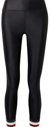 The Upside Hoya Cropped Striped Stretch Leggings - Black